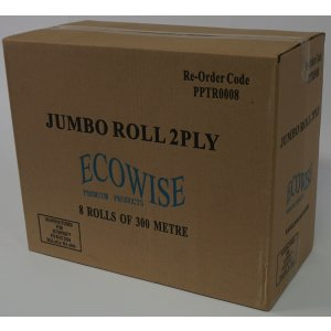 Jumbo 2ply T/rolls Non-perforated 8ctn